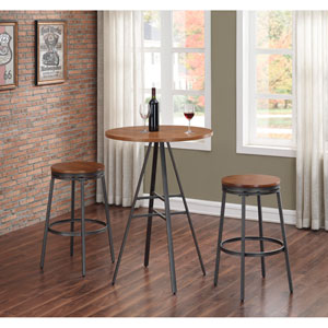 Stockton 3 Piece Pub Height Table Set with Backless Swivel Stools