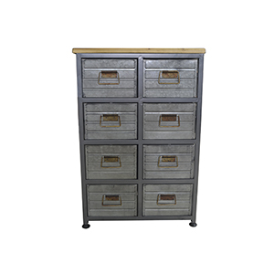 River Station Aged Metal Eight Drawer Chests