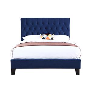 Linden Full Navy Full Upholstered Bed