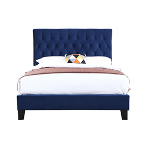 Linden Queen Navy Queen Upholstered Bed