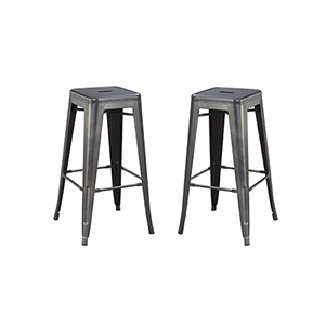 Afton Gunmetal Gray 30-Inch Bar Stool, Set Of 2