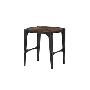 River Station Honeyed Amber Round End Table