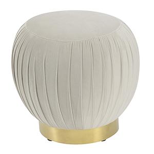 Vivian Taupe Round Ottoman