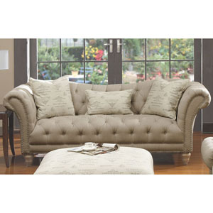 Hutton Sofa Nailhead with 3 Pillows