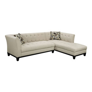 Marion Sofa Chaise Cream w/2 Accent Pillows