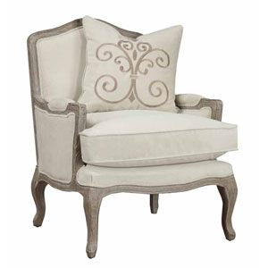 Salerno Chair-Sand Gray Finish w/Pillow-Cream