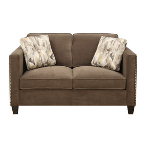Focus Loveseat Chocolate w/2 Accent Pillows