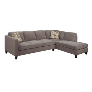 Focus 2-Piece Sectional Charcoal w/2 Accent Pillows