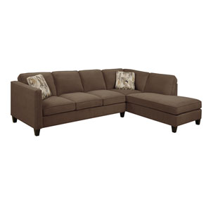 Focus 2-Piece Sectional Chocolate w/2 Accent Pillows