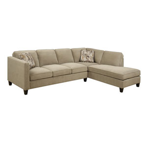 Focus 2-Piece Sectional Granite w/2 Accent Pillows
