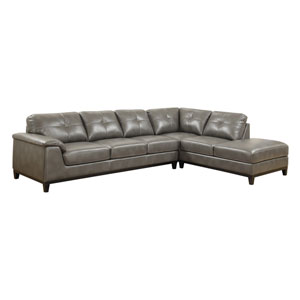 Marquis 2-Piece Sectional w/6 Seats Grey Pu