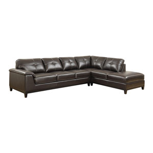 Marquis 2-Piece Sectional w/6 Seats Brown Pu