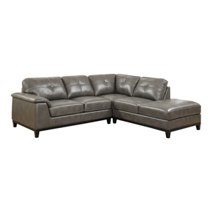 Marquis 2-Piece Sectional w/5 Seats Grey Pu