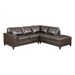 Marquis 2-Piece Sectional w/5 Seats Walnut Brown Pu
