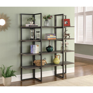 Emerald Home Atari Antique Gray 60-Inch Bookshelf
