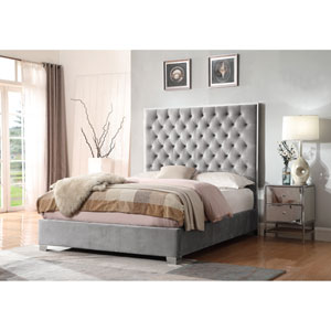 Emerald Home Lacey Gray Upholstered Queen Bed