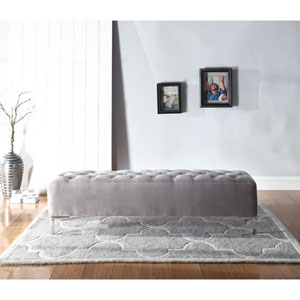 Vivian Gray Upholstered Bench