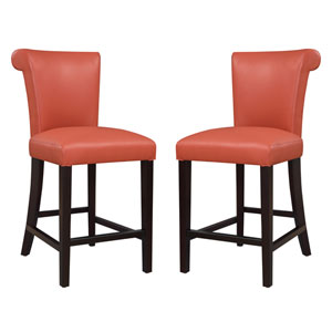 Emerald Home Briar III 24-Inch Orange Barstool- Set of 2