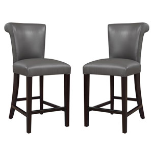 Linden Gray 24-Inch Barstool- Set of 2
