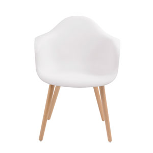 Annette Dining Chair White with Arms, Set of 2