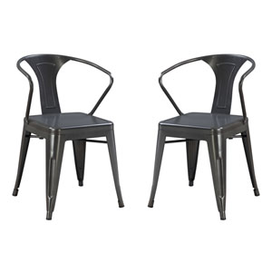 River Station Gun Metal Side Chair- Set of 2