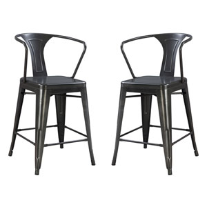 River Station Gray All Gun Metal Barstool- Set of 2