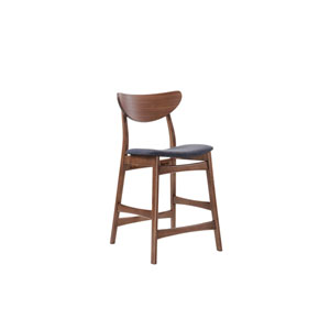 Simplicity Barstool Wood Back with Upholstered Blue Seat