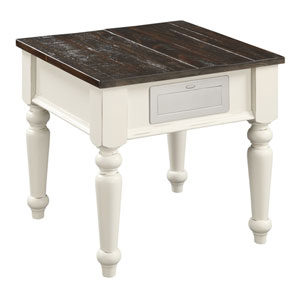 Hayden Brown and White End Table