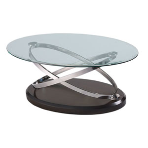 Vision Oval Cocktail Table with Glass Top