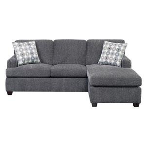 Emerald Home Siesta Gray King Sleeper Chofa- with Gel Foam Mattress and 2 Accent Pillows
