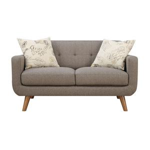 Remix Loveseat Brown with 2 Accent Pillows