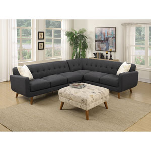 Emerald Home Remix 2 Piece Charcoal Sectional with 2 Accent Pillows