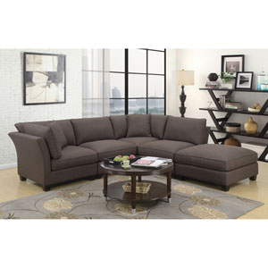 Linden Dark Brown 5 Piece Sectional with Two Pillows