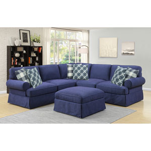 Emerald Home Mountain Retreat Dark Blue 3 Piece Sectional with 6 Pillows