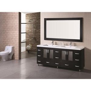 Stanton Dark Espresso 72 Inch Double Sink Bathroom Vanity Set with Drop-In Sinks