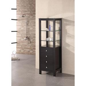 Dark Espresso Contemporary Linen Cabinet with Two Glass Shelves
