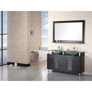 Redondo Dark Espresso 60 Inch Double Sink Vanity Set