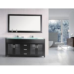 Waterfall Dark Espresso 72 Inch Double Sink Vanity Set