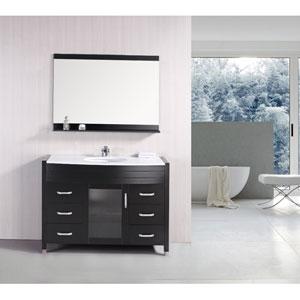Cascade Dark Espresso Single Sink Vanity Set with White Stone Countertop