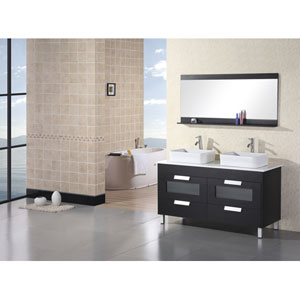 Design Element Citrus Dark Espresso 48 Inch Double Sink