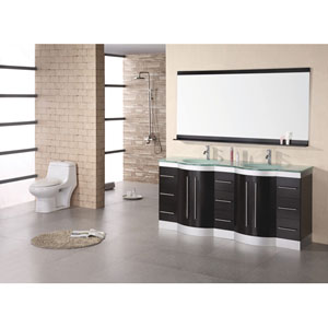 Jasper Dark Espresso 72 Inch Double Sink Vanity Set with Tempered Glass Countertop
