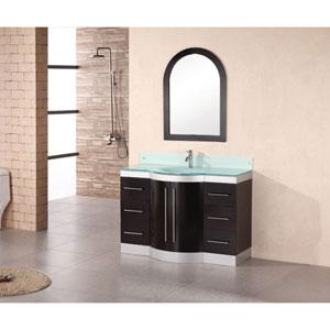 Jade Dark Espresso 48 Inch Single Sink Vanity Set with Tempered Glass Countertop