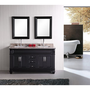 Hudson Dark Espresso 60 Inch Double Sink Bathroom Vanity