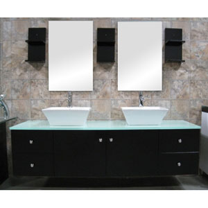 Portland Dark Espresso 61 Inch Double Sink Vanity Set