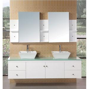 Portland 71 Inch White Double Sink Bathroom Vanity