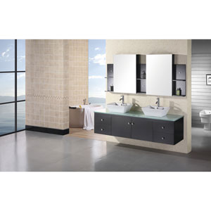 Portland Dark Espresso 72 Inch Double Sink Vanity Set