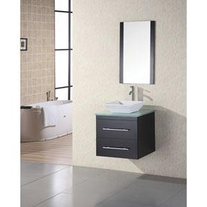 Elton Dark Espresso 24 Inch Single Sink Vanity Set with Mint Glass Countertop