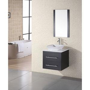 Elton Dark Espresso 24 Inch Single Sink Vanity Set with White Stone Countertop