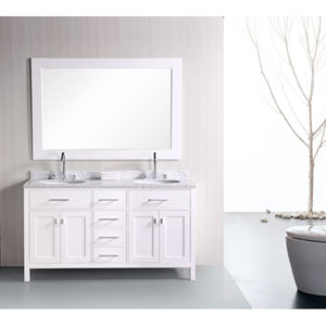 London 61 Inch Pearl White Double Sink Bathroom Vanity Set