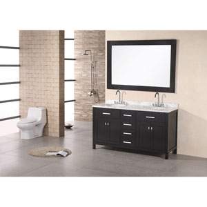 London Dark Espresso 61 Inch Double Sink Vanity Set